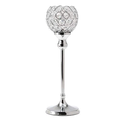 Backbayia Teelichthalter aus Kristallglas, Kerzenhalter, dekorative Laternen für Hochzeit, Weihnachten, Dekoration, Silber, 30 cm (Laterne Dekorative Kerzenhalter)