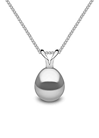 Kimura Pearls Silver Grey Drop Shape Cultured Freshwater Pearl Pendant