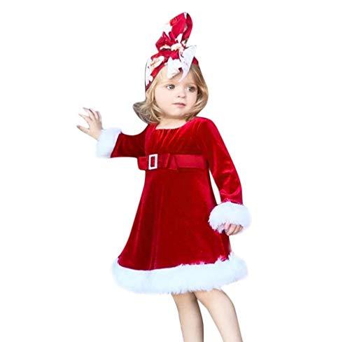 FIRSS-Mädchen Plüsch Weihnachtskleid Warme Prinzessin Kleid Baby Langarmshirt Strumpfhosen Weihnachtsmotiv A-Linie Minikleid