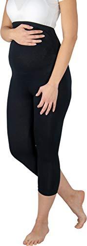 Evagreen Lange Umstandsleggings Leggings für Schwanger   Elastische Schwangerschaftsleggings   Sehr bequem für den Alltag   Umstandsmode Umstands-Leggins (L, Schwarz 3/4)