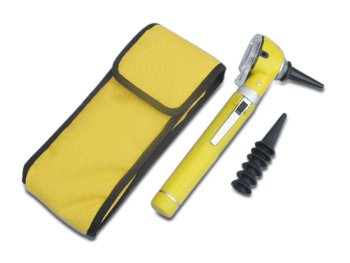 Mini Otoskop mit Tasche, Batterien und Ersatz-Trichter in Gelb -