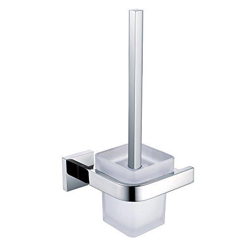 Leidener TM Badezimmer Wand montiert WC-Bürstenhalter SET, Griff mit Halter Wandhalterung, Edelstahl Chrom Finish -