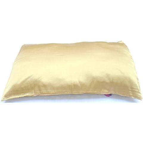 Federe in Satin di seta per capelli e prodotti per la cura del viso ((paio), 100% poliestere/ poliestere/raso/seta, oro, 20 x