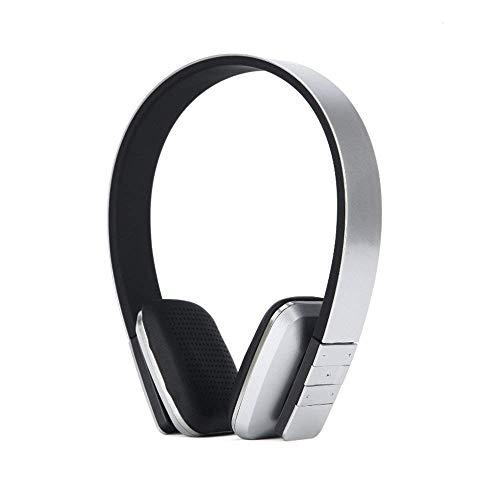 longdafei Bluetooth Faltbarer Kopfhörer, Kabelgebundene Headsets Rauschunterdrückung mit Mikrofon Mic/FM / TF-Karte/AUX für PC TV Smartphones & Tablets (Silber)