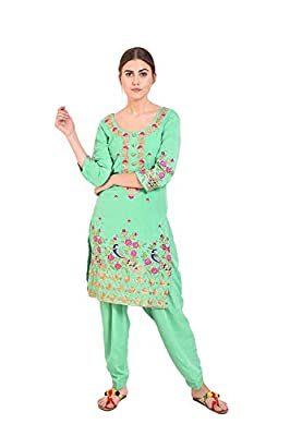 Punjabi Patiala Salwar Suit for girls unstiched - Banarsi patiala salwar - crape fabric shirt - Superior quality work - elegant Punjabi suit - Patiala salwar fabric - with Phulkari dupatta