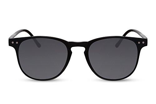 Cheapass Sonnenbrille Schwarz Rund Grau UV-400 Designer-Accessoire Sommer Festival Must-Have Frauen Männer