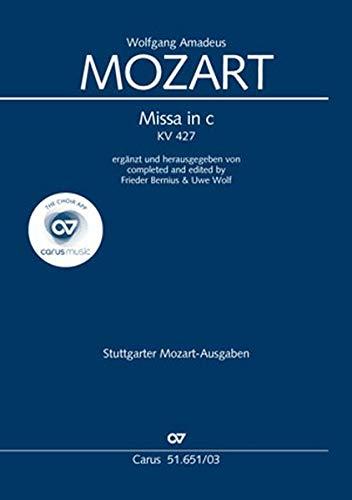 Missa in c (Klavierauszug): ergänzt und herausgegeben von Frieder Bernius & Uwe Wolf KV 427