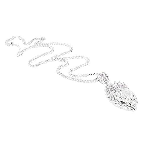 Sharplace Fashion Men's Hip-hop Crystal Crown Lion Head Pendant Long Chain Necklace Punk Jewellery -