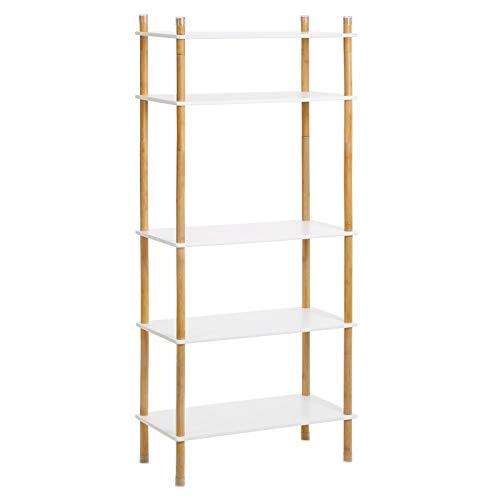 VASAGLE Aufbewahrungsregal mit 5 Ebenen, Standregal, Beine aus Bambus, erweiterbar, Bücherregal, Höhe verstellbar, ideal für Wohnzimmer, Badezimmer, Küche, weiß-naturfarben LUS105WN