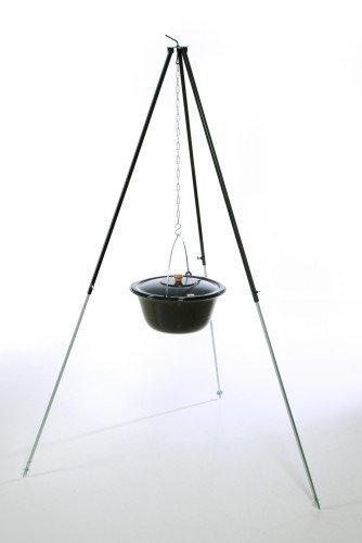 Original ungarischer Gulaschkessel (30 Liter) + Dreibein-Gestell (180cm) ✓ Emailliert ✓ Kratzfest ✓ Geschmacksneutral | Teleskop-Dreifuß mit Gulasch-Topf, Suppentopf, Glühweintopf | Kochkessel mit Deckel für Kesselgulasch, Glühwein-Kessel im Set