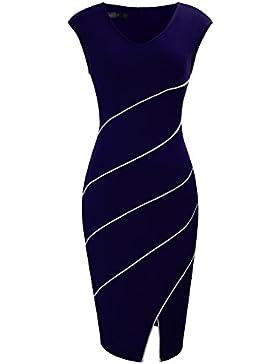aea86d546d478 HOMEYEE femminile elegante scollo a V senza maniche in Twill Slim  Kneelength Spalato Hem Prom Dress