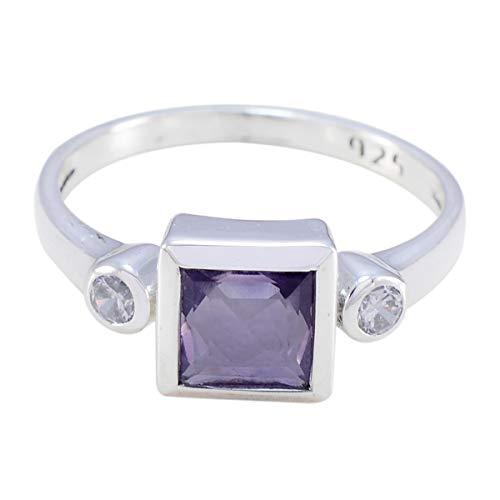 schöner facettierter Amethyst-Ring aus Edelstein - solides Silber Amethyst-Silber schöner Edelstein-Ring - Schmuck meistverkaufte Läden Geschenk für Jubiläum-Stapelring