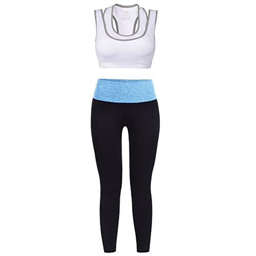 Vbiger Sport BH Yoga BH Damen Jogginghose Damen Sport Leggings Yoga Hose Trainingshose Sport Bustier ohne Bügel (U/w-bh Weiß)