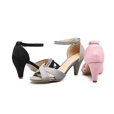 LvYuan Soirée & Evénement Habillé Décontracté-Noir Rose Gris Pêche-Talon Aiguille-club de Chaussures-Sandales-Similicuir gray