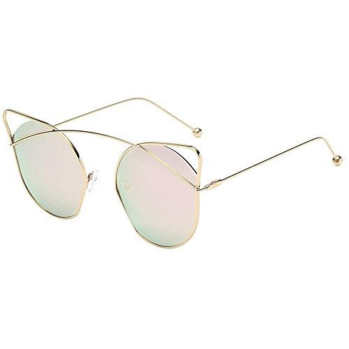 jgashf Sonnenbrille Damen,Katzenauge Metall Rand Rahmen Damen Brille Stil Mode Gespiegelte Linse Anti-Uv-Sonnenbrille Mit Farbverlauf,Mehrfarbig Optional (F)