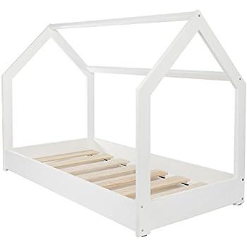 Lit maison 2 en 1 chambre d 39 enfant construction cabane bois naturel 160x80 cm - Chambre bebe bois naturel ...