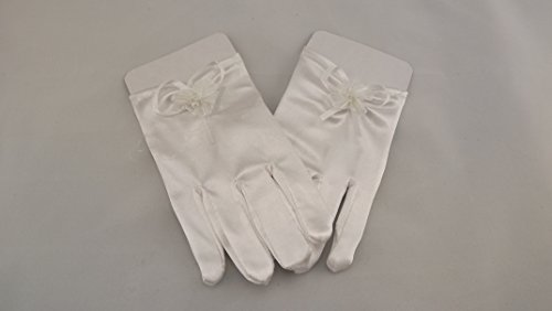Handschuhe für Kinder Kommunion Firmung o.ä. anlässe Satin 16 cm Kurz weiss *NEU*OVP*