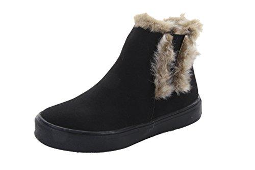 HOO Girls Boot (Little Kid/Big Kid) Warm Winter Faux Fur Lined Slip-On Black/Gray Suade Fashion Bootie
