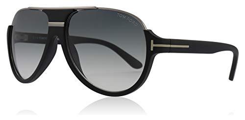 Tom Ford Herren FT0334 02W 59 Sonnenbrille, Schwarz (Nero Opaco/Blu Grad),