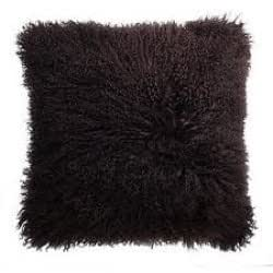 Genuine Mongolian Sheepskin Cushion Dark Brown