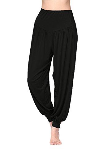 BeautyWill Freizeithosen Weiche Modal Haremshose Jogginghose Yoga Pilates Hosen Lang und 3/4 Hose für Damen L Schwarz Lange