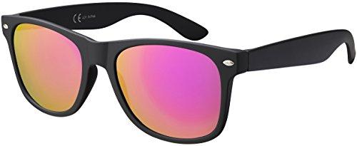 Sonnenbrille La Optica UV 400 CAT 3 Damen Fashion Mode - Einzelpack Gummiert Schwarz (Gläser: Pink/Rosa Verspiegelt)