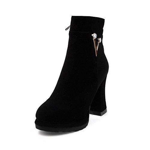 AgooLar Damen Reißverschluss Hoher Absatz Mattglasbirne Rein Mitte-Spitze Stiefel Schwarz
