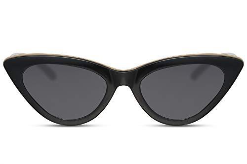 Cheapass Sonnenbrille Cat-Eye Schwarz Schmal-e Gold-ene Leiste UV-400 Katzenauge Designer-Brille Damen