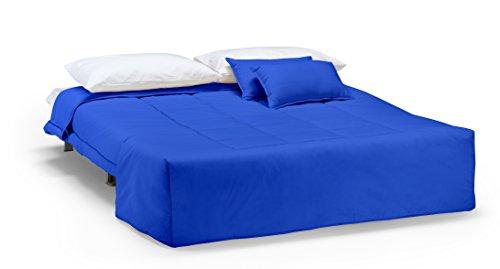 Divano letto open singolo prontoletto con rivestimento in cotone blu - Divano letto prontoletto ...