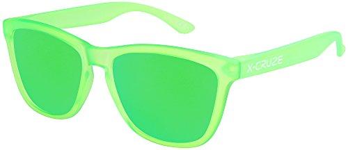 X-CRUZE 9-057 occhiali da sole nerd polarizzati stile retro vintage unisex uomo donna occhiali da nerd - verde-trasparente opaco LW/verde specchio