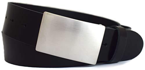 GREEN YARD Ledergürtel schwarz & braun 4 cm breit mit edler Koppelschnalle aus EINEM STÜCK LEDER, 100% Leder - Ledergürtel Herren - Herrengürtel - Leder Gürtel -