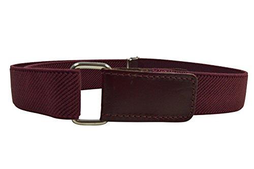 Kinder 1-6 Jahre Elastischer Gürtel, voll einstellbar mit Klettband - Burgund Rot (Burgund, Klettband)