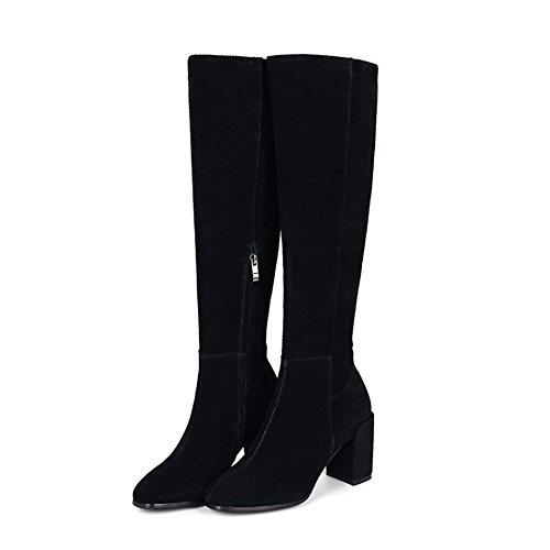 Donna stivali di spessore con tubo lungo l Europa e gli Stati Uniti black