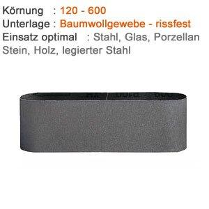 3 Gewebe Schleifbänder für Metall, Glas und Stein - 75 x 533 mm Korn 320, Made in Germany