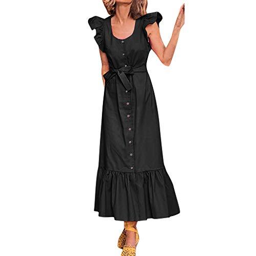 laub sexy Rüschen Ärmel Bogen Kleid Damen Beach Party Kleid ()