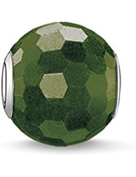 Thomas Sabo Damen-Bead Heliotrop Karma Beads 925 Sterling Silber grün K0090-652-6
