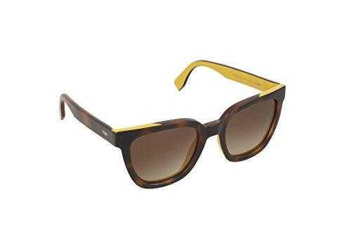 Fendi ff 0121/s ha mfr, occhiali da sole donna, beige (havana ochre/brown sf), 51