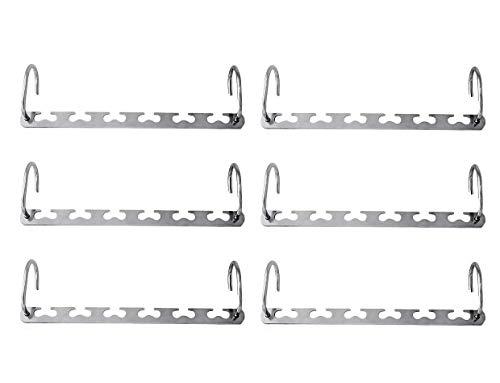 Joyoldelf 6 perchas de acero inoxidable para colgar en armarios, organizador de ropa, ahorra espacio, diseño con forma de corazón