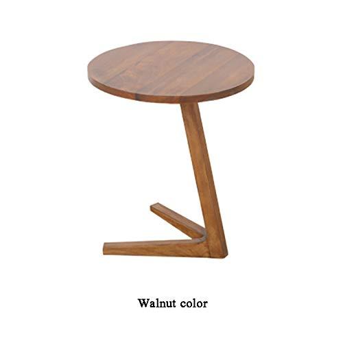 LXTX Nordic Kleiner Couchtisch Mini Holz Kleiner runder Tisch Moderne Einfachheit Sofa Ecktisch Balkon Couchtisch Nachttisch,Walnut Color