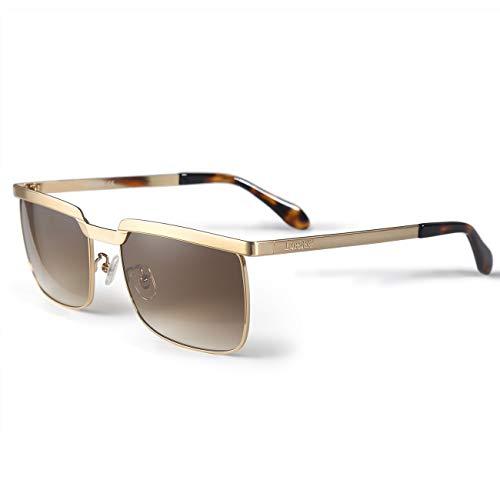 LORSEX Sonnenbrille Herren Retro Mode Sonnenbrille für Männer 100% UV400 Schutz (Brau)