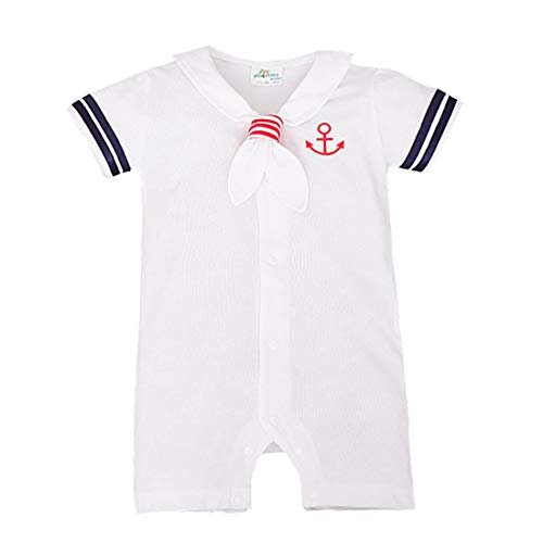 ZIHOUKIJ Infant Baby Jungen Mädchen Outfit Sommer Kurzarm Sailor Nautical Romper Dress (Color : White Boy, Size : 70)