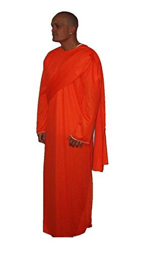 The Dragons Den Erwachsene Buddhistischer Mönch orange Bademäntel Fancy Kleid Kostüm Shaolin Gr. Small,