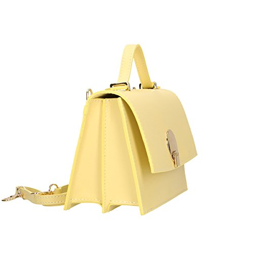 Chicca Borse Borsa a tracolla in pelle 22x15x10 100% Genuine Leather Giallo