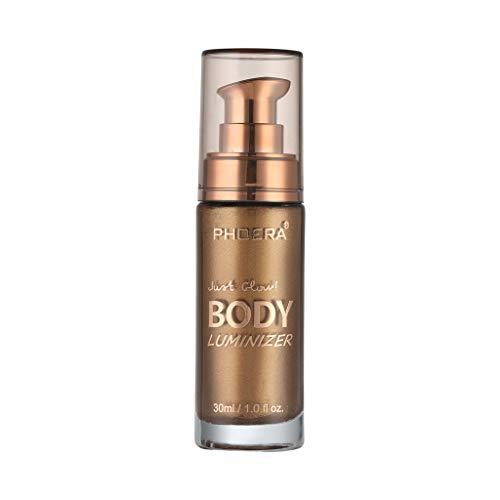 PHOERA Body Luminizer Make-up Creme Gesicht Körper Schimmer Make-up Flüssigkeit Aufhellen ,Make-up Cover Concealer Foundation Body Gesicht Körper Schimmer Flüssigkeit Flüssige (Metallisches Gold) -