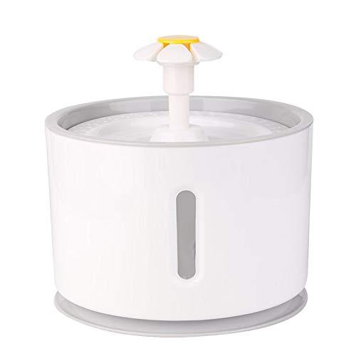 D-SYANA8 2.4L Dispensador de Fuente de Agua para Mascotas, Perro Gato, Flujo de Agua Automático Silenciamiento de Carbón Activado con Filtro de carbón Alimentador del Agua Potable Bowl Grey