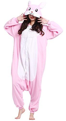 Pijama Conejo Rosa, Onesie Modelo Animal Cosplay para Adulto entre 1,48 y 1,75 m Kugurumi Unisex