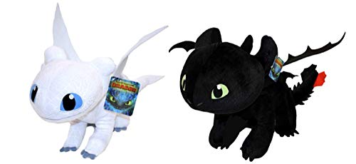 HTTYD Dragons, how to train your dragon - 2 Pack Luminous Fury Toys (Light Fury) + Toothless - Super Soft Quality 11'80 '/ 30cm (40cm Tail included)