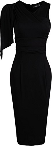 Jeansian Femme Cocktail Party Dress Sexy Fashion Crayon Casual Dress Slim Robes WKD174 Black