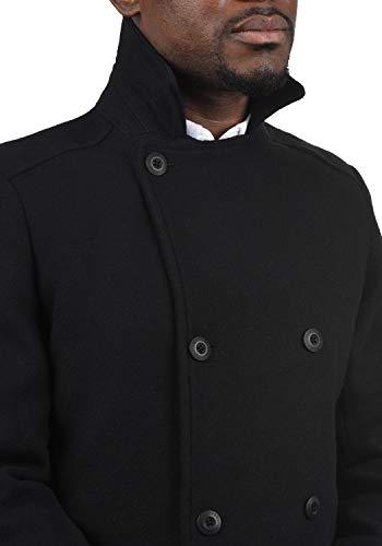 !Solid Harvey Herren Winter Mantel Wollmantel Lange Winterjacke mit Doppelreihiger Knopfleiste, Größe:M, Farbe:Black (9000) - 5