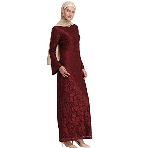 Scrolor Muslim Trompete Schal Ärmeln schlank langärmelige Mode Spitze Bestickt Kleid für Party Bankett Festival Womens tragen(rot,M) -